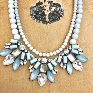 Jewelry - Blue With Clear Rhinestones Statement Necklace